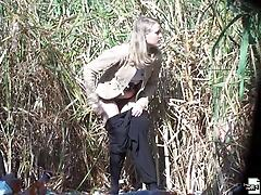 Outdoor pissing in the fields spycamed