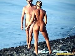 Hot nudist couple spycamed on the beach