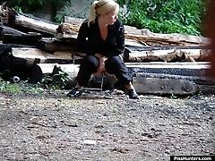 Gazing round peeing blond caught on cam