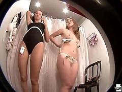 Lovely chick caught having fun in the dressing room
