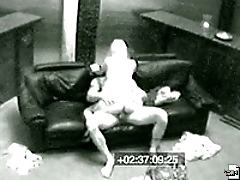 Hot and horny this girl fucks a janitor on her office couch