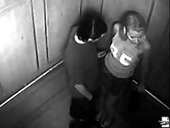 A blonde babe gets on her knees and sucks cock in elevator