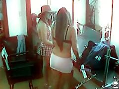 Two curvy lebsian girls get it on with one another here