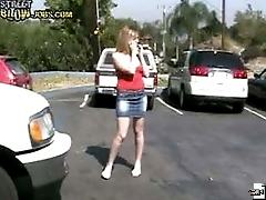 Hot amateur babe gets caught on camera blowing a stranger