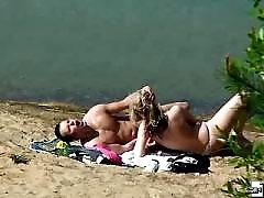 Lustful beach hotsy toying and getting her pussy licked